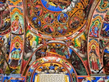 Рильский монастырь иконы на потолке