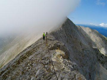 На вершине горы в тумане